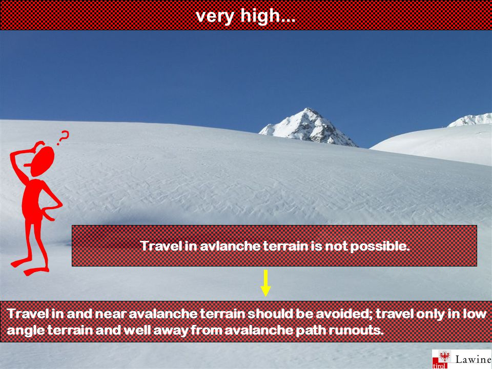very high... Travel in and near avalanche terrain should be avoided; travel only in low angle terrain and well away from avalanche path runouts. Trave