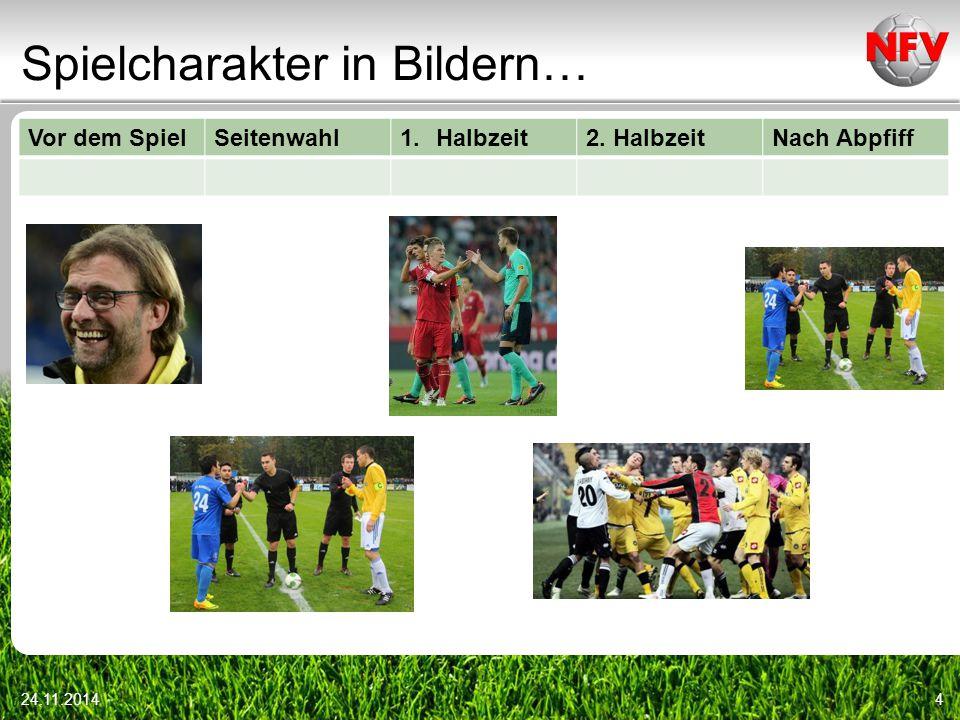 Spielcharakter in Bildern… Vor dem SpielSeitenwahl1.Halbzeit2. HalbzeitNach Abpfiff 24.11.20144