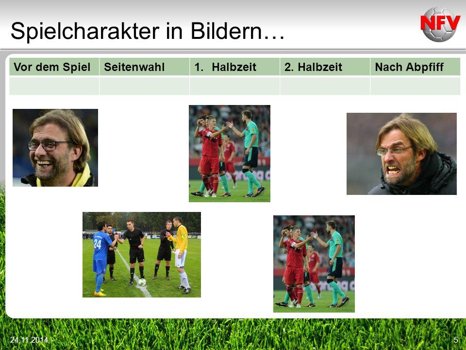 Spielcharakter in Bildern… Vor dem SpielSeitenwahl1.Halbzeit2. HalbzeitNach Abpfiff 24.11.20146
