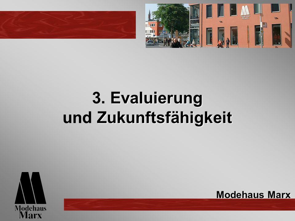 Evaluierung Zukunftsfähigkeit 3. Evaluierung und Zukunftsfähigkeit Modehaus Marx
