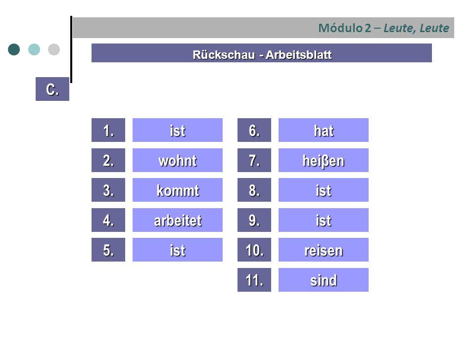 Módulo 2 – Leute, Leute 1.ist 2.wohnt 3.kommt 4.arbeitet 5.ist C.