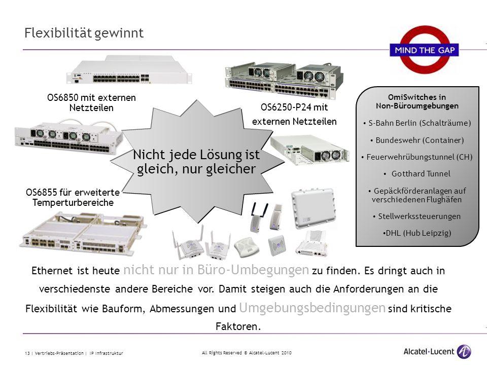 All Rights Reserved © Alcatel-Lucent 2010 13 | Vertriebs-Präsentation | IP Infrastruktur Flexibilität gewinnt Ethernet ist heute nicht nur in Büro-Umb