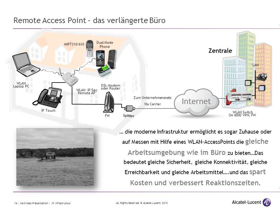 All Rights Reserved © Alcatel-Lucent 2010 16 | Vertriebs-Präsentation | IP Infrastruktur Remote Access Point – das verlängerte Büro Zum Unternehmensne
