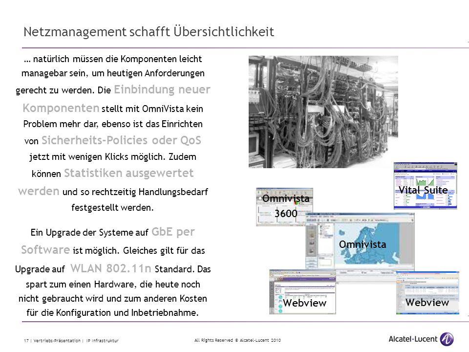 All Rights Reserved © Alcatel-Lucent 2010 17 | Vertriebs-Präsentation | IP Infrastruktur Vital Suite … natürlich müssen die Komponenten leicht manageb