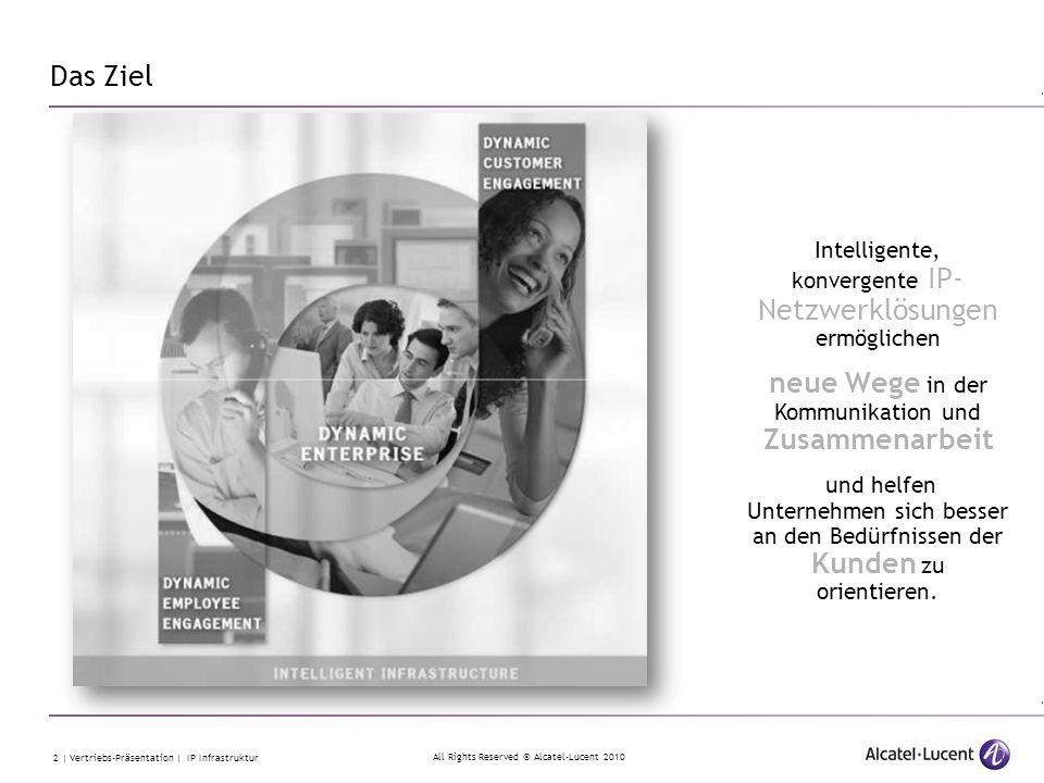 All Rights Reserved © Alcatel-Lucent 2010 2 | Vertriebs-Präsentation | IP Infrastruktur Intelligente, konvergente IP- Netzwerklösungen ermöglichen neu