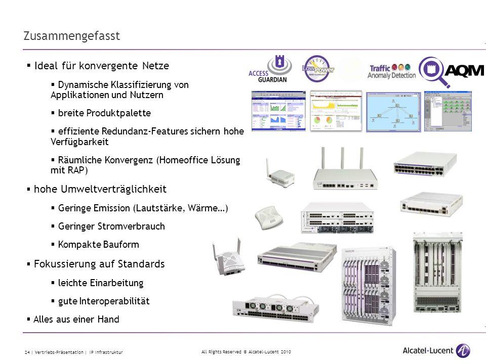 All Rights Reserved © Alcatel-Lucent 2010 24 | Vertriebs-Präsentation | IP Infrastruktur Zusammengefasst  Ideal für konvergente Netze  Dynamische Kl