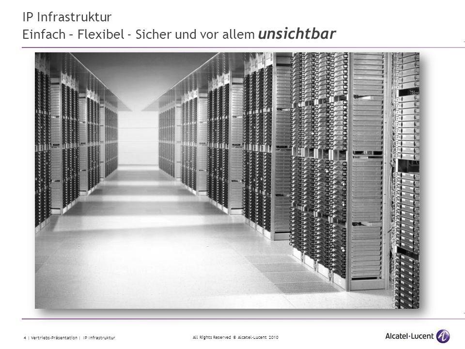 All Rights Reserved © Alcatel-Lucent 2010 15 | Vertriebs-Präsentation | IP Infrastruktur Redundanz schafft Sicherheit Mit Standards gewinnen … die Systeme von Alcatel-Lucent sind in sich bereits redundant aufgebaut, sodaß ein Stromausfall keine Bedeutung mehr hat.