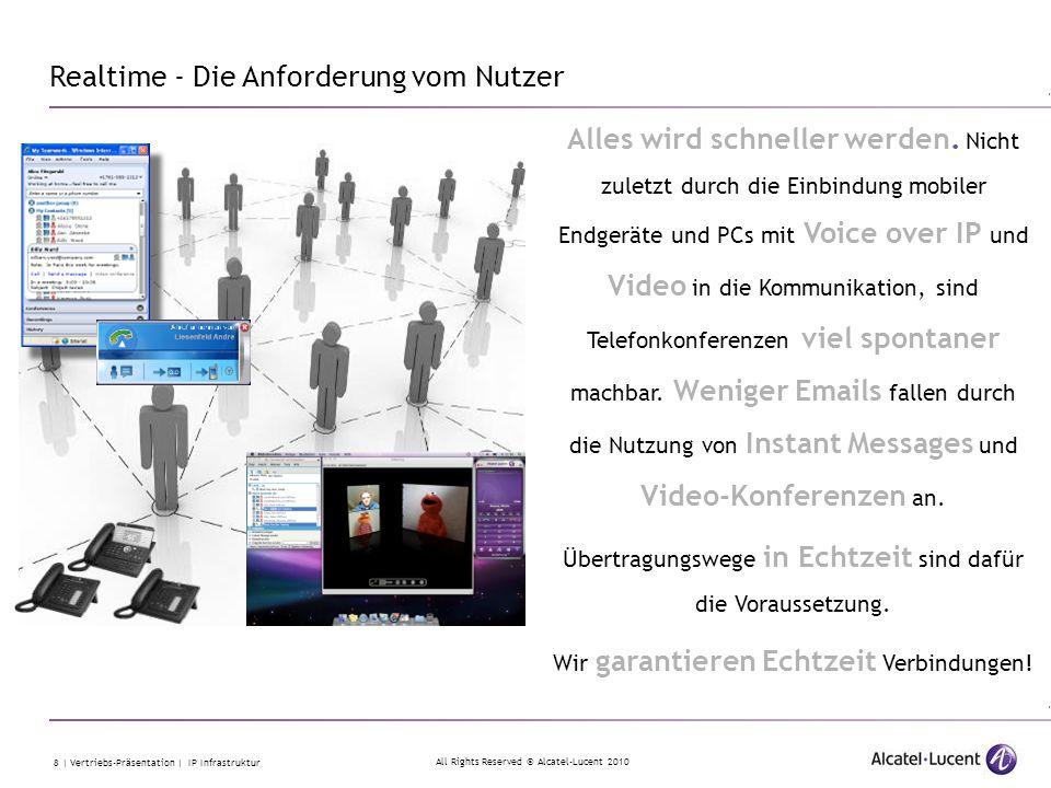 All Rights Reserved © Alcatel-Lucent 2010 8 | Vertriebs-Präsentation | IP Infrastruktur Alles wird schneller werden. Nicht zuletzt durch die Einbindun
