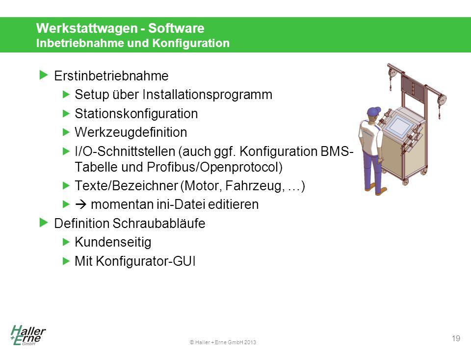 © Haller + Erne GmbH 2013 Werkstattwagen - Software Inbetriebnahme und Konfiguration  Erstinbetriebnahme  Setup über Installationsprogramm  Stationskonfiguration  Werkzeugdefinition  I/O-Schnittstellen (auch ggf.