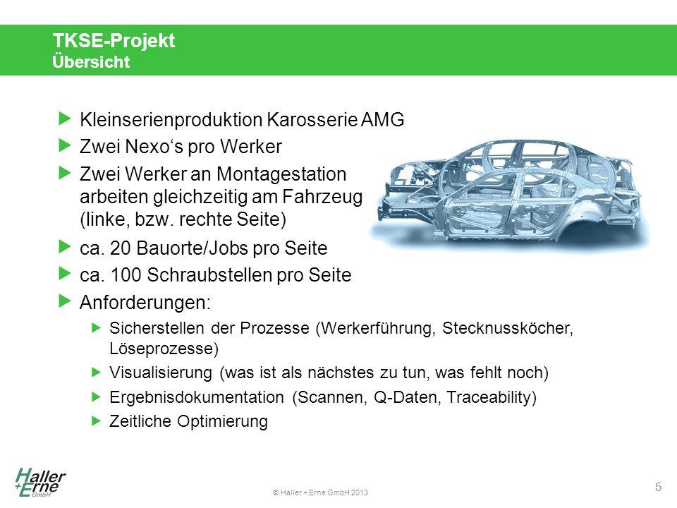© Haller + Erne GmbH 2013 TKSE-Projekt Übersicht  Kleinserienproduktion Karosserie AMG  Zwei Nexo's pro Werker  Zwei Werker an Montagestation arbeiten gleichzeitig am Fahrzeug (linke, bzw.