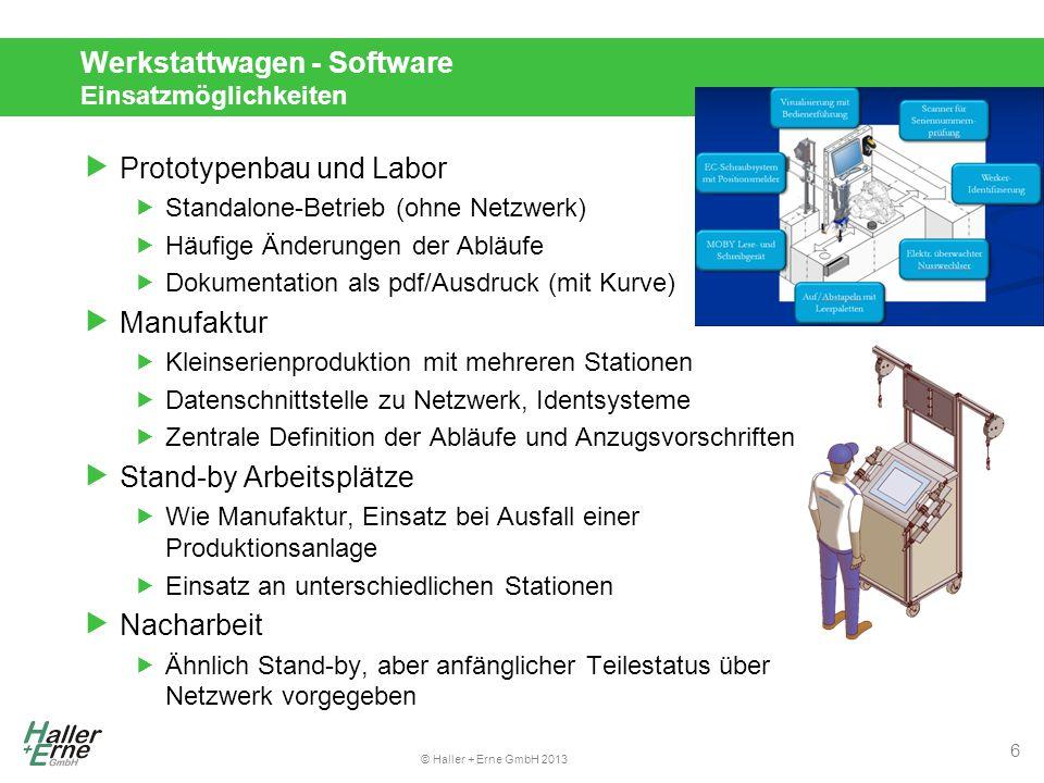 """© Haller + Erne GmbH 2013 Werkstattwagen - Software Topologie und Datenmanagement  Trennung in verschiedene Komponenten…  Zwei Datenbanken – Konfiguration und Daten  """"Monitor – Runtime für den Produktionsarbeitsplatz  """"Configurator – Editor für Konfiguration  …ermöglicht verschiedene Topologien  Standalone  Offline-Konfiguration  Zentrale Konfiguration  Online/Server-Betrieb  Einfaches Datenmanagement  Versionierung der Konfiguration  Single-file copy/transfer 7"""