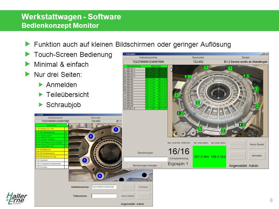 © Haller + Erne GmbH 2013 Werkstattwagen - Software Bedienkonzept Monitor  Funktion auch auf kleinen Bildschirmen oder geringer Auflösung  Touch-Screen Bedienung  Minimal & einfach  Nur drei Seiten:  Anmelden  Teileübersicht  Schraubjob 8