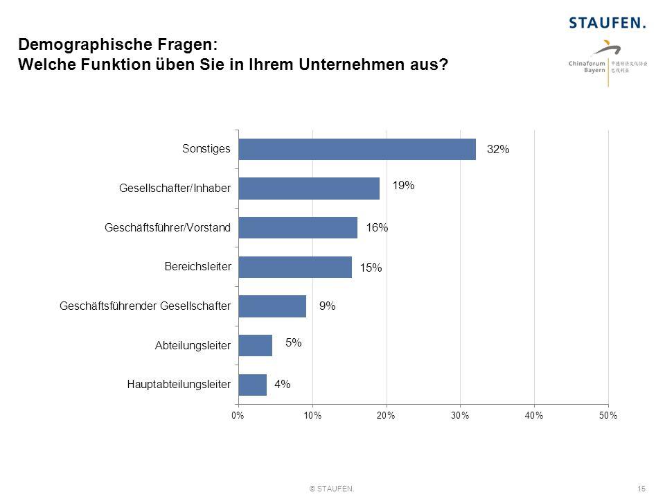 Demographische Fragen: Welche Funktion üben Sie in Ihrem Unternehmen aus? © STAUFEN.15