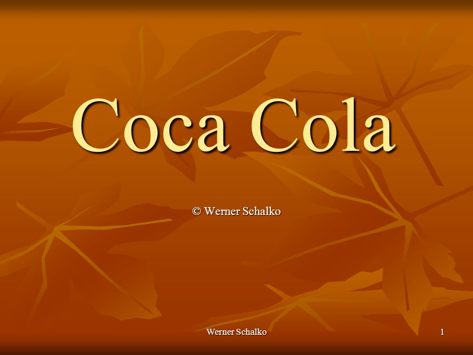 Werner Schalko12 Coffein Standardisierung auf einen Gesamtgehalt von 120 mg/l Standardisierung auf einen Gesamtgehalt von 120 mg/l Chemie siehe Kaffee Chemie siehe Kaffee