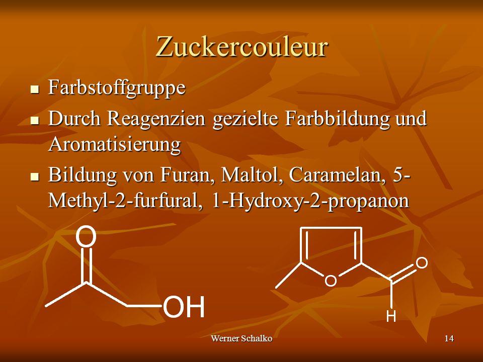 Werner Schalko14 Zuckercouleur Farbstoffgruppe Farbstoffgruppe Durch Reagenzien gezielte Farbbildung und Aromatisierung Durch Reagenzien gezielte Farb