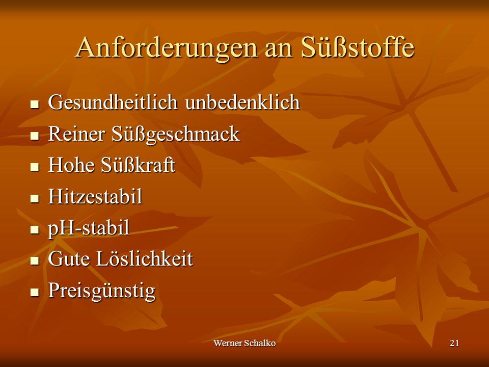 Werner Schalko21 Anforderungen an Süßstoffe Gesundheitlich unbedenklich Gesundheitlich unbedenklich Reiner Süßgeschmack Reiner Süßgeschmack Hohe Süßkr