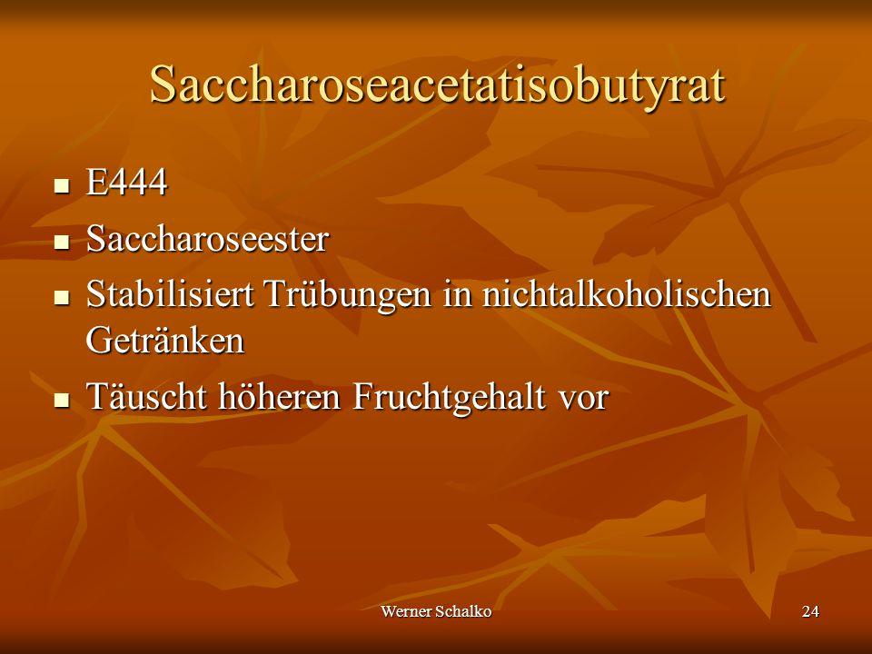 Werner Schalko24 Saccharoseacetatisobutyrat E444 E444 Saccharoseester Saccharoseester Stabilisiert Trübungen in nichtalkoholischen Getränken Stabilisi