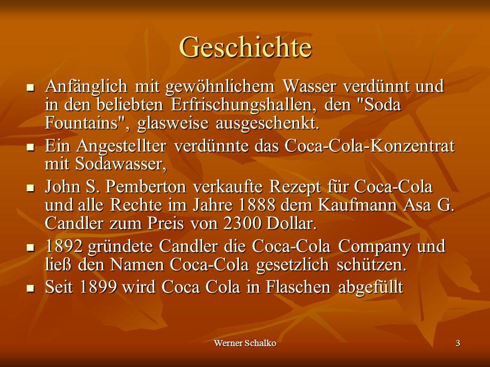 Werner Schalko3 Geschichte Anfänglich mit gewöhnlichem Wasser verdünnt und in den beliebten Erfrischungshallen, den