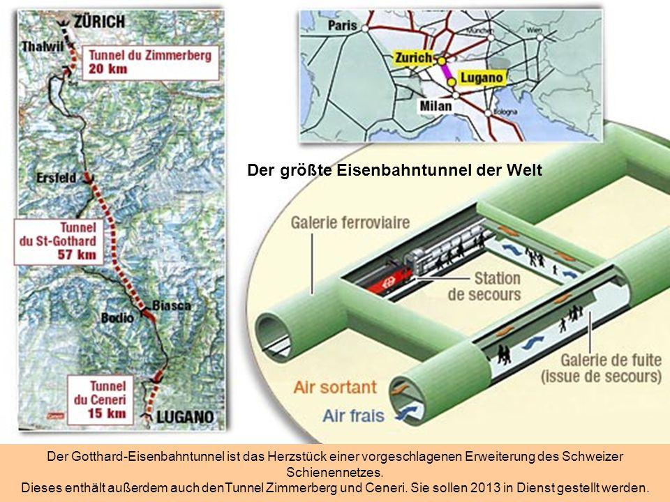 In den Schweizer Bergen….. Vier Tunnelbohrmaschinen sind in Gotthard eingesetzt. Es sind maßgeschneiderte Maschinen und kosten je 13 bis 20.000.000 Eu