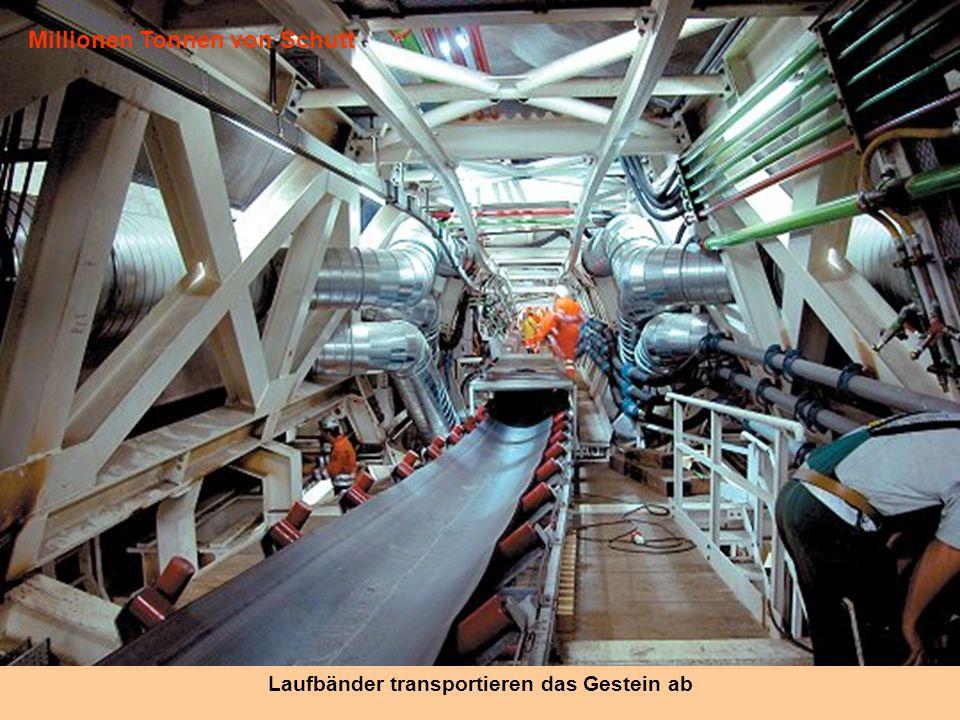 Galeries parallèles Der Tunnel besteht aus zwei parallelen Röhren, die mit 175 Quergänge verbunden sind. Die leistungsstarken Ventilatoren saugen Stau