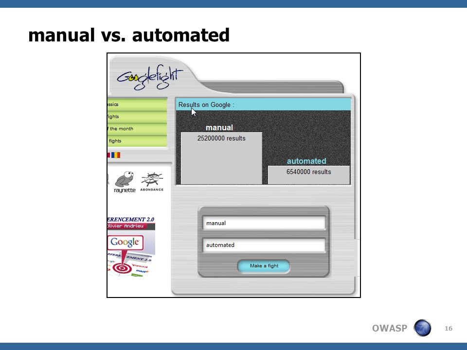 OWASP manual vs. automated 16