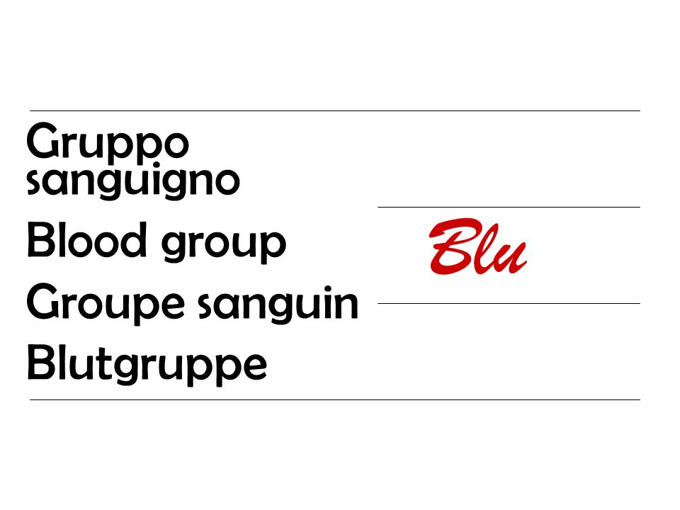 Gruppo sanguigno Blood group Groupe sanguin Blutgruppe Blu