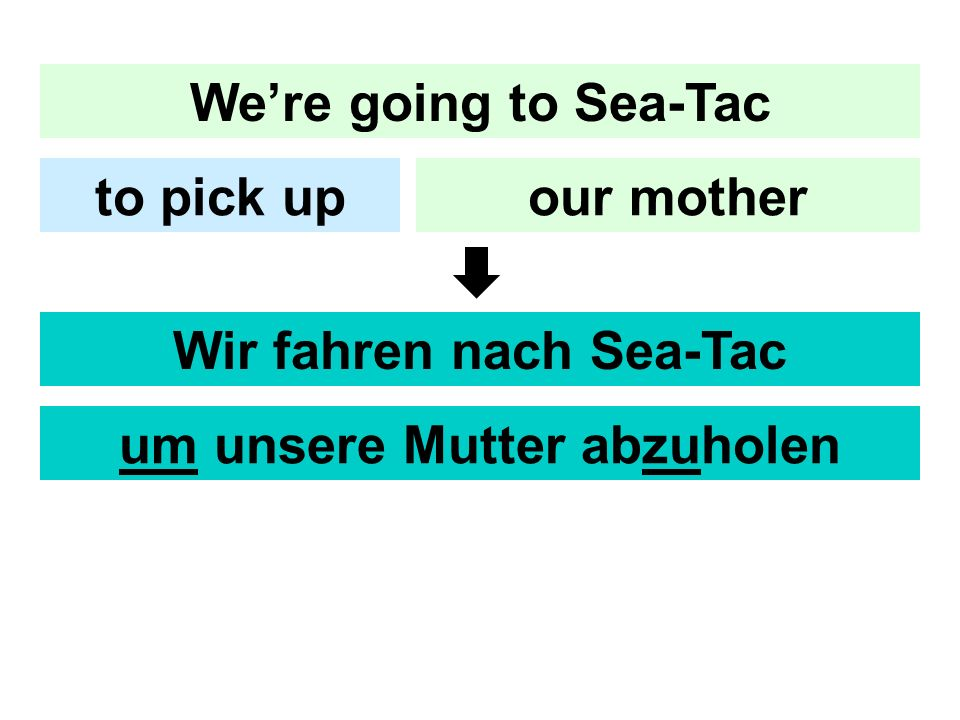 Were going to Sea-Tac our motherto pick up Wir fahren nach Sea-Tac um unsere Mutter abzuholen