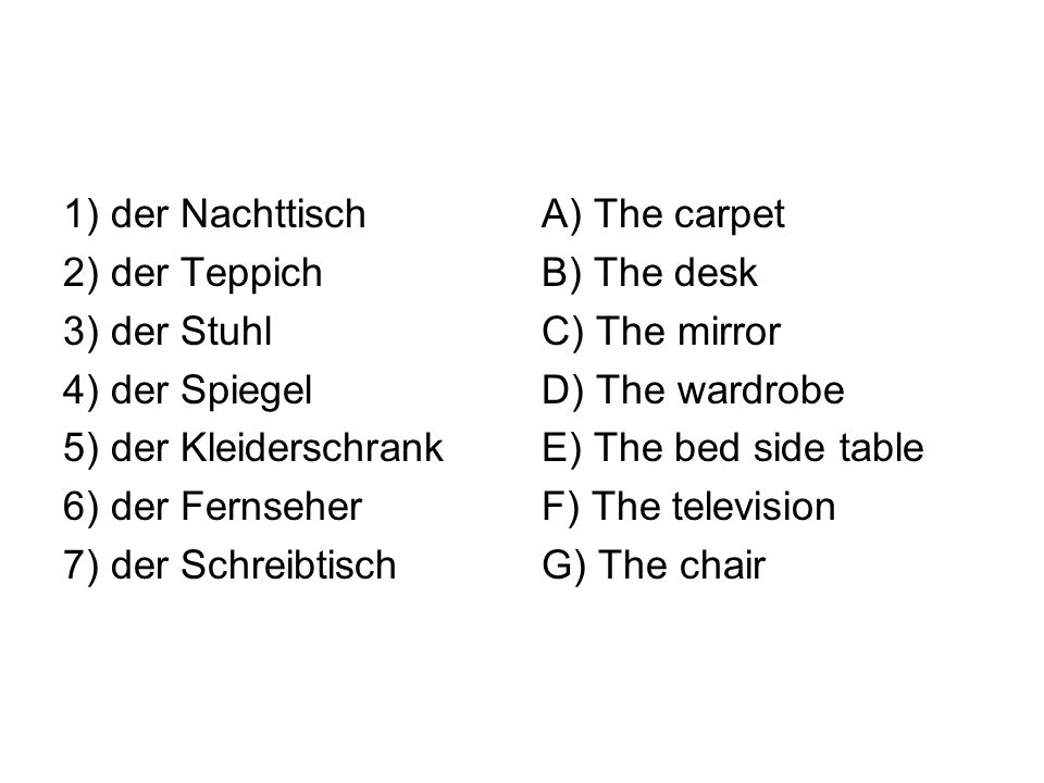 1) der Nachttisch 2) der Teppich 3) der Stuhl 4) der Spiegel 5) der Kleiderschrank 6) der Fernseher 7) der Schreibtisch A) The carpet B) The desk C) The mirror D) The wardrobe E) The bed side table F) The television G) The chair