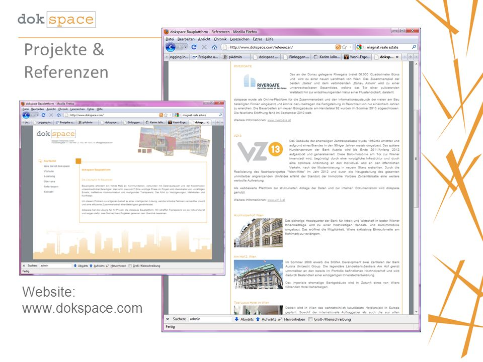 Projekte & Referenzen Website: