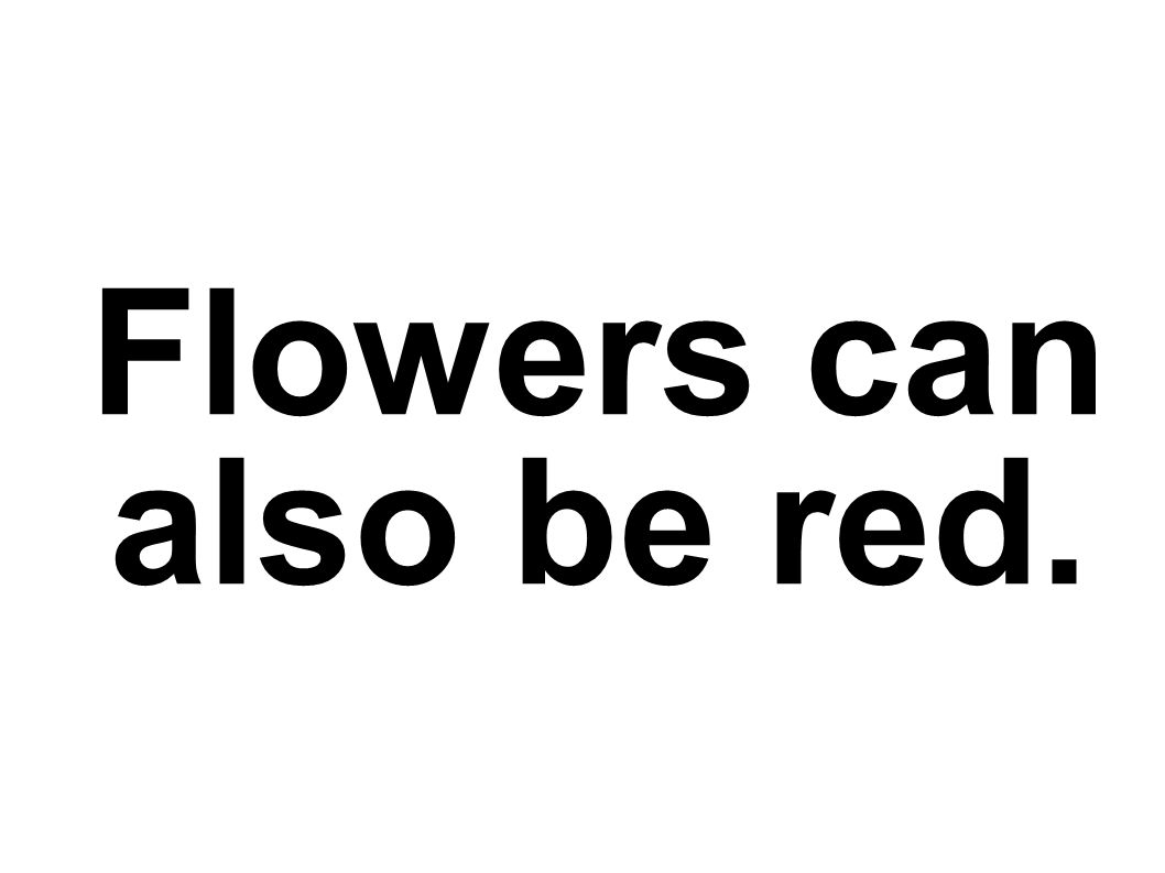 Flowers can also be red.
