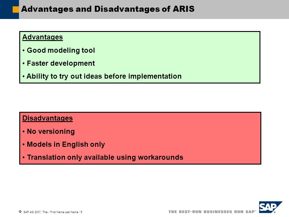 SAP AG 2007, Title / First Name Last Name / 5 Advantages and Disadvantages of ARIS Advantages Good modeling tool Faster development Ability to try out ideas before implementation Disadvantages No versioning Models in English only Translation only available using workarounds
