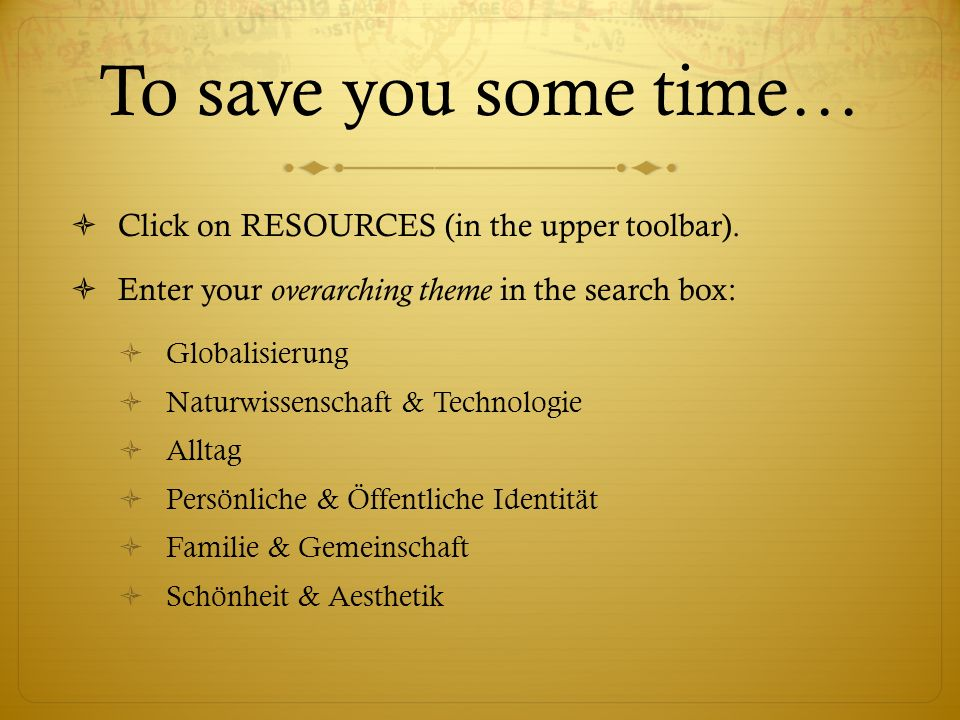 To save you some time… Click on RESOURCES (in the upper toolbar).
