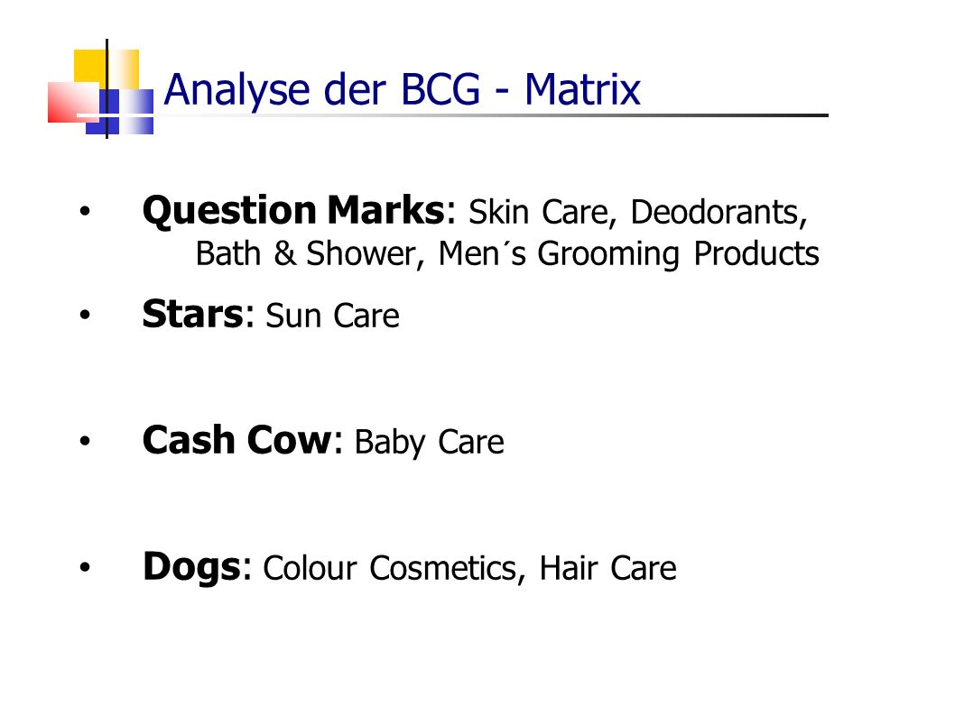 Question Marks: Skin Care, Deodorants, Bath & Shower, Men´s Grooming Products Stars: Sun Care Cash Cow: Baby Care Dogs: Colour Cosmetics, Hair Care Analyse der BCG - Matrix