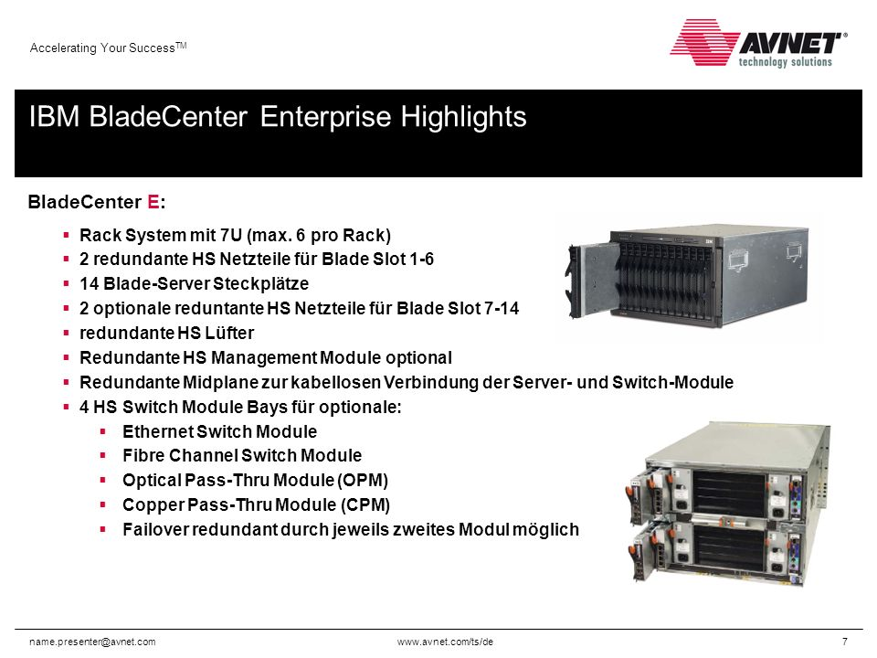 Accelerating Your Success TM BladeCenter E: Rack System mit 7U (max.