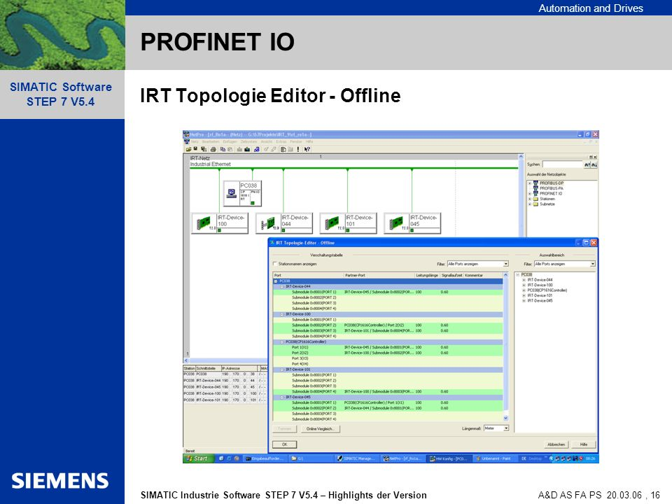 Automation and Drives SIMATIC Industrie Software STEP 7 V5.4 – Highlights der Version SIMATIC Software STEP 7 V5.4 A&D AS FA PS , 16 PROFINET IO IRT Topologie Editor - Offline