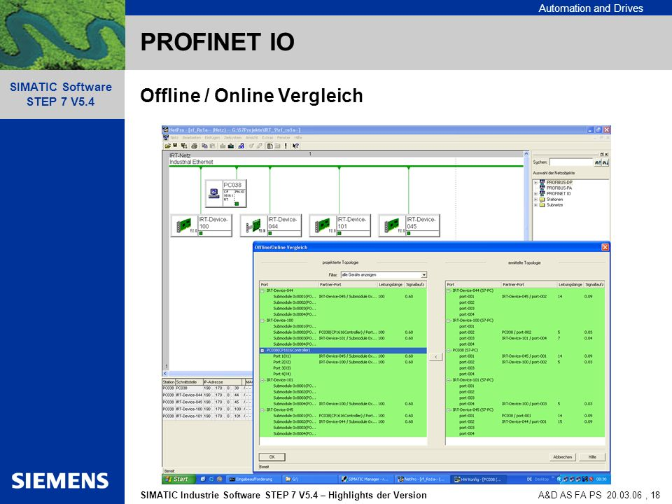 Automation and Drives SIMATIC Industrie Software STEP 7 V5.4 – Highlights der Version SIMATIC Software STEP 7 V5.4 A&D AS FA PS , 18 PROFINET IO Offline / Online Vergleich