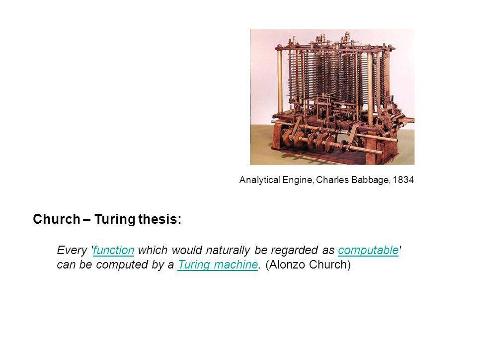 Church – Turing thesis: Every function which would naturally be regarded as computable functioncomputable can be computed by a Turing machine.