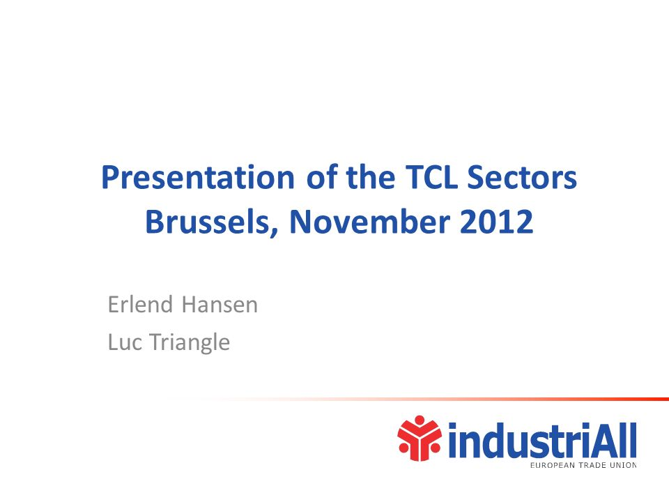 Presentation of the TCL Sectors Brussels, November 2012 Erlend Hansen Luc Triangle