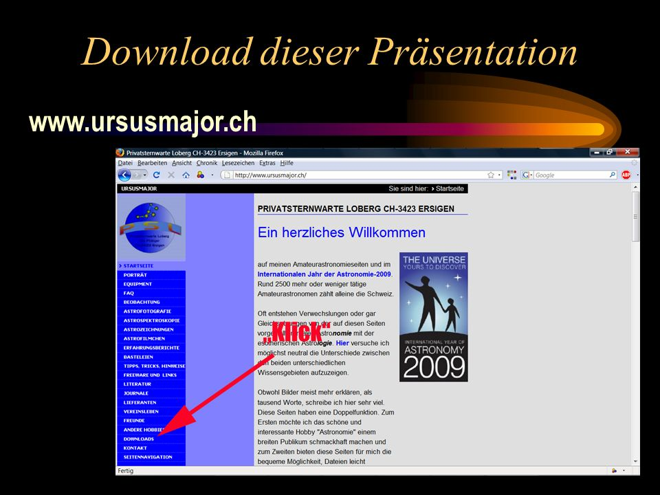 Download dieser Präsentation www.ursusmajor.ch