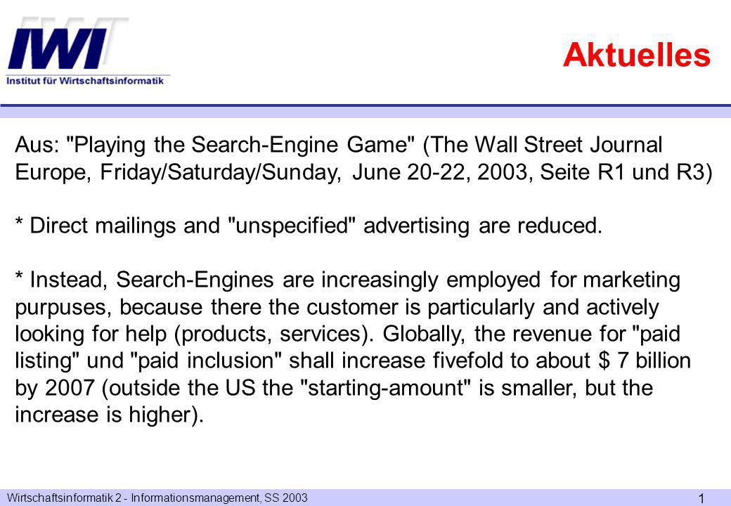 Wirtschaftsinformatik 2 - Informationsmanagement, SS Aktuelles Aus: Playing the Search-Engine Game (The Wall Street Journal Europe, Friday/Saturday/Sunday, June 20-22, 2003, Seite R1 und R3) * Direct mailings and unspecified advertising are reduced.