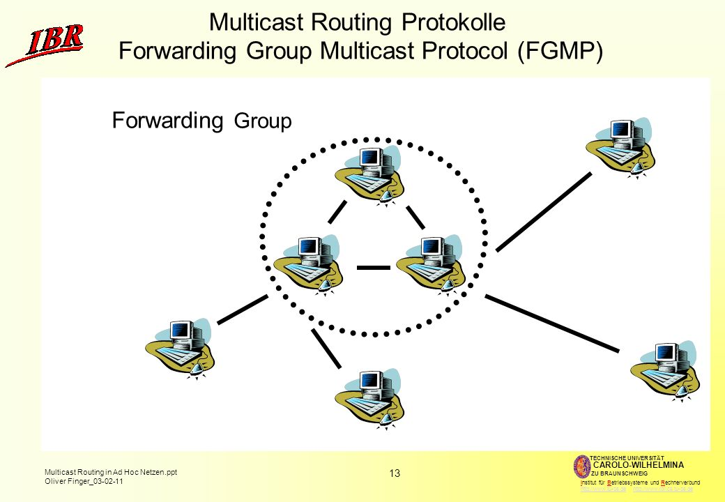 13 Multicast Routing in Ad Hoc Netzen.ppt Oliver Finger_ TECHNISCHE UNIVERSITÄT ZU BRAUNSCHWEIG CAROLO-WILHELMINA Institut für Betriebssysteme und Rechnerverbund     Multicast Routing Protokolle Forwarding Group Multicast Protocol (FGMP) Forwarding Group