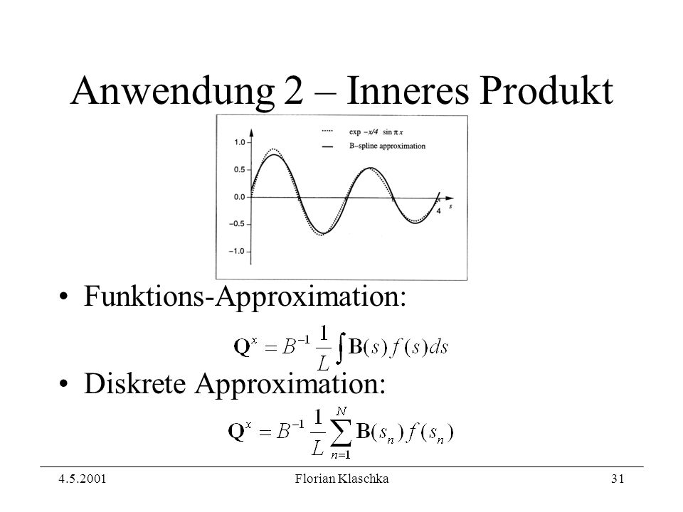 4.5.2001Florian Klaschka31 Anwendung 2 – Inneres Produkt Funktions-Approximation: Diskrete Approximation: