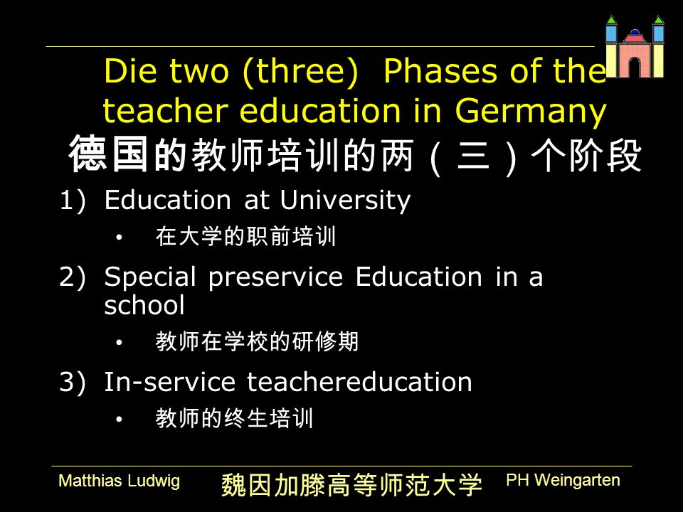 PH Weingarten Matthias Ludwig Die two (three) Phases of the teacher education in Germany 1)Education at University 2)Special preservice Education in a school 3)In-service teachereducation