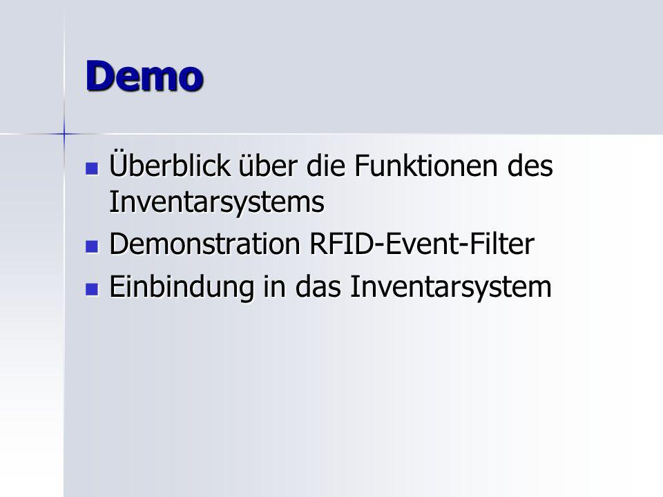 Demo Überblick über die Funktionen des Inventarsystems Überblick über die Funktionen des Inventarsystems Demonstration RFID-Event-Filter Demonstration RFID-Event-Filter Einbindung in das Inventarsystem Einbindung in das Inventarsystem