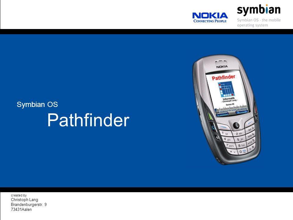 Pathfinder created by Christoph Lang Brandenburgerstr Aalen Symbian OS