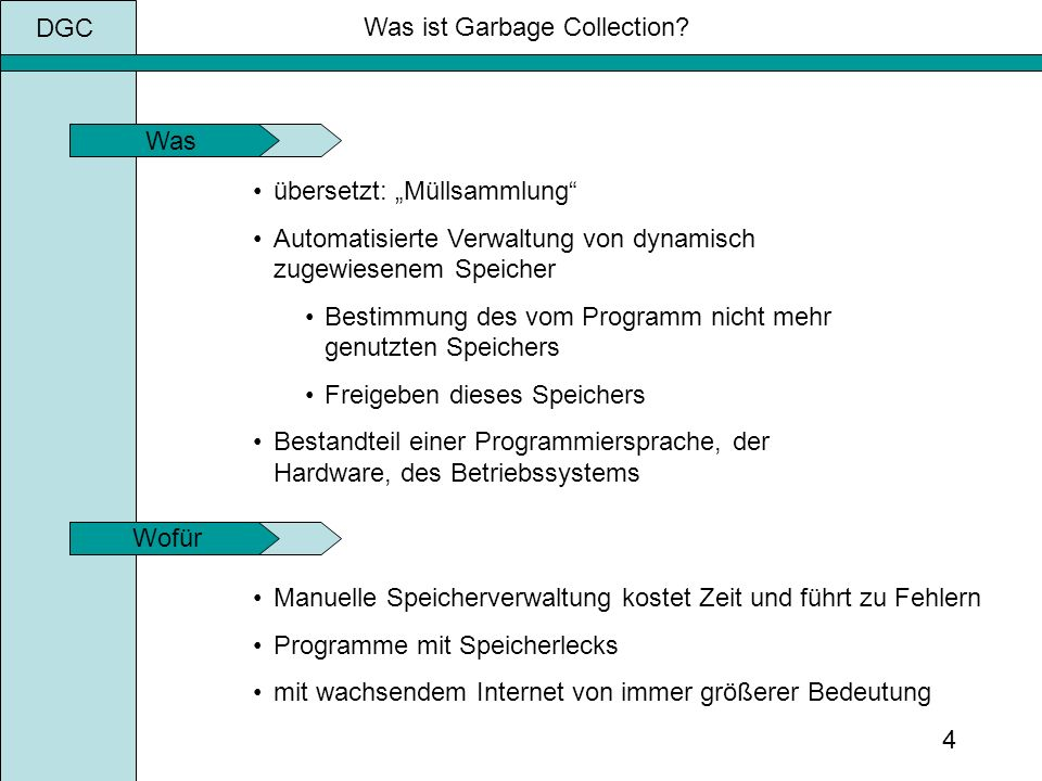 DGC 4 Was ist Garbage Collection.