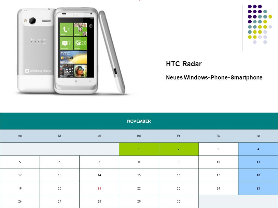 NOVEMBER MoDiMiDoFrSaSo HTC Radar Neues Windows- Phone- Smartphone