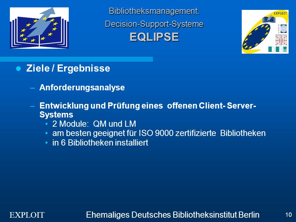 EXPLOIT Ehemaliges Deutsches Bibliotheksinstitut Berlin 10 Bibliotheksmanagement.
