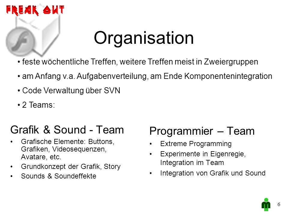 Organisation Grafik & Sound - Team Grafische Elemente: Buttons, Grafiken, Videosequenzen, Avatare, etc.