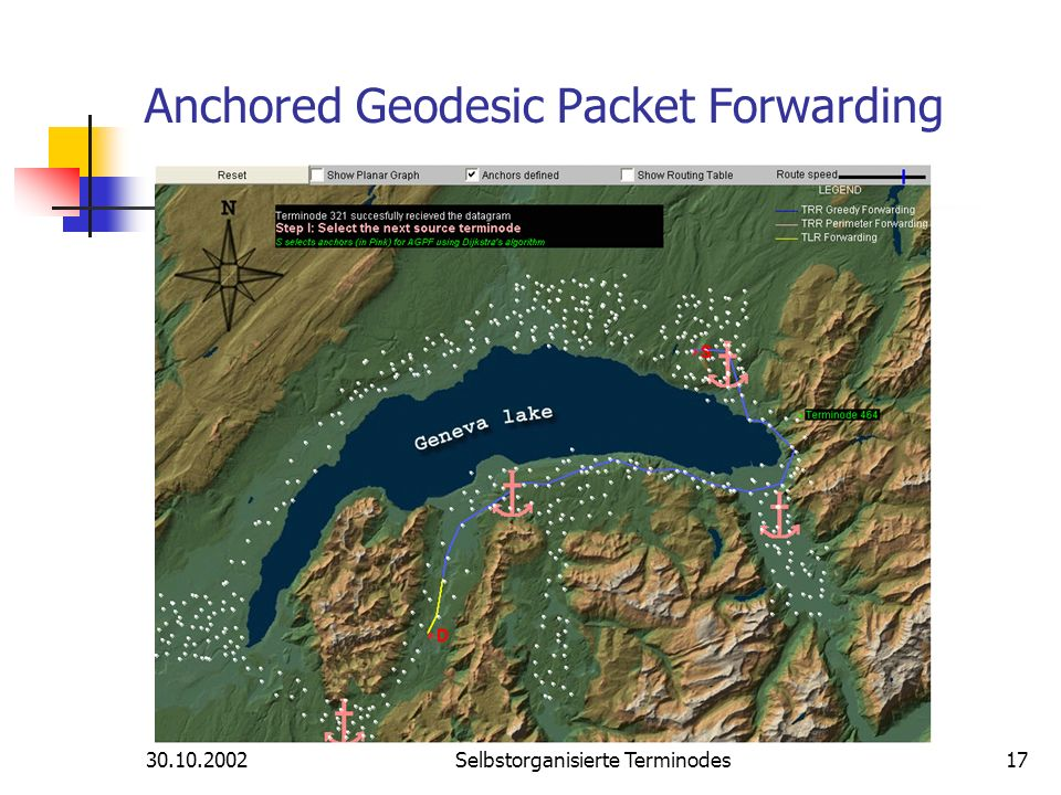 Selbstorganisierte Terminodes17 Anchored Geodesic Packet Forwarding